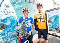 2017 Pipe Masters winner, Jeremy Flores with John John Florence and the Pipe Masters trophies and art by Phil Roberts