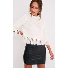 Shelia Cream Fringe Trim Cropped Knitted Jumper ($10) ❤ liked on Polyvore featuring tops, sweaters, white, white sweaters, jumper top, chunky knit sweater, jumpers sweaters and cut-out crop tops