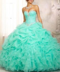 a58bf679f20 Mint Pink Ball Gown Quinceanera Dresses Organza Beads Crystal Sequined Sweet  16 Dress For 15 Years