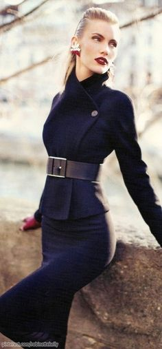 Gucci jacket, skirt and belt, Chanel gloves. Oh the things I can't afford. -- A previous pinner Women's Fashion: My Style (CTS) Look Fashion, High Fashion, Winter Fashion, Womens Fashion, Trendy Fashion, Fashion Black, Fashion Tag, Petite Fashion, Luxury Fashion