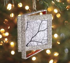 German Glitter Frame Ornament from Pottery Barn- could be a DIY knockoff
