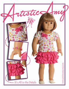 American Girl Doll Clothing  Pink Ruffle Skirt with by ArtisticAmy, $24.99