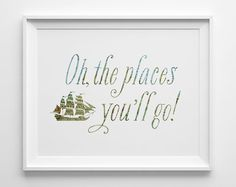 Oh the Places You'll Go Baby Print Map Art by SweetPeonyPress, $12.00
