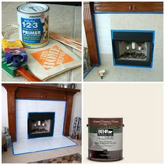 """Before she started decorating for fall, Collette Osuna of Spindle & Rye painted her tile fireplace white. (She was tired """"builder beige"""".) Click through to see how easy this project was.  