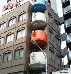 coffee cup balconies in Japan