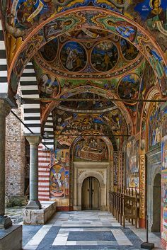 Rila Monastery, the largest and most famous monastery in Bulgaria (by Tovsla). I bet someone's neck was very sore after all of that beautiful work...wow.