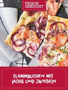 Flammkuchen mit Lachs und Zwiebeln Meat, Chicken, Food, Cooking, Recipies, Essen, Meals, Yemek, Eten