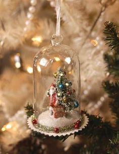 Christmas Eve Visitor Cloche Ornament Victorian Christmas Decorations Diy Christmas Ornaments Pink Christmas