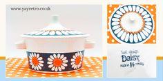 Figgjo Flint turi-design Daisy lidded dish from yay retro! Vintage Branding, Craft Shop, Vintage Textiles, Vintage China, Crochet Shawl, Online Art, Vintage Shops, Daisy, Wraps