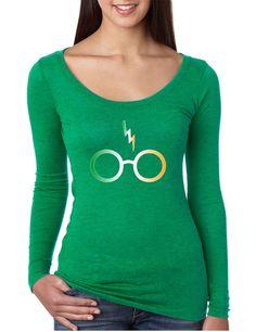 Women's Shirt Irish Harry Glasses Scar St Patrick's Day Shirt