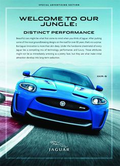 This ad is very exciting. It has an image of a car going very fast and make one think of living on the edge. It uses visual hierarchy very well with the slogan, followed by a description of the product. The text takes up the top half of the ad while leaving plenty of room at the bottom for the car.