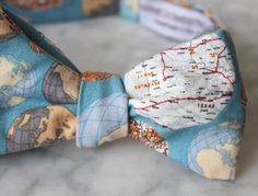 Blue Global Perspective Bow Tie