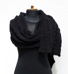 Black Shawl Oversized Wrap Merino Wool Scarf Blanket Scarf Merino Perfect Gift (70.00 USD) by deliriumkredens
