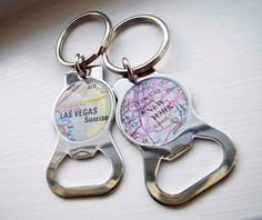 Custom Map Bottle Opener Key Chain - Paper and Place