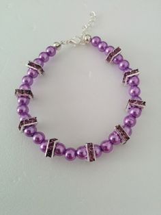 Ladies Purple Beaded Bracelet £5.99