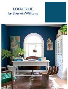 Blogger @emily henderson shares her Loyal Blue (SW 6510) office.
