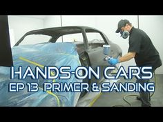 How To Spray Urethane Primer Surfacer & Sand Panels Straight on Hands-On Cars 13 - Eastwood Garage Repair, Truck Repair, Auto Body Repair, Car Painting, Spray Painting, Auto Body Work, Camper Boat, Classic Car Restoration, Audi