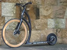 Mountain Scooter Made by Kickbike | This is our clear carbon finish scooter with our wooden wheel and disc ...
