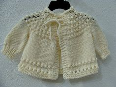 Hand Knitted Baby Sweater Cream.