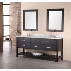 Design Element Mission 72 in. Vanity in Espresso with Marble Vanity Top and Mirror in Carrera White-DEC077B at The Home Depot
