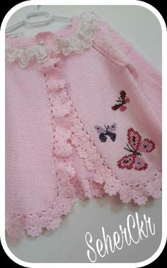 lace baby jacket knit with crochet accents from asian magazine found in russian site httpwwwliveinternetruusersbaby charts included - PIPicStats Baby Knitting Patterns, Knitting For Kids, Knitting Designs, Baby Patterns, Free Knitting, Crochet Patterns, Crochet Girls, Crochet For Kids, Crochet Baby