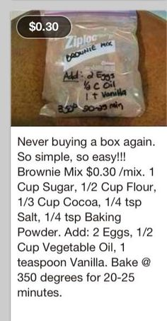 Homemade brownie recipe - sub the sugar with Splenda & the oil with applesauce and this could be a healthier brownie.
