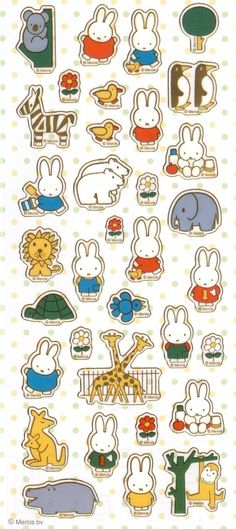 Amazon.com: Illustrations Dick Bruna Miffy and Zoo Animal Design Stickers: Toys & Games