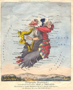 Caricature map of Ireland, later half of the 18th century.