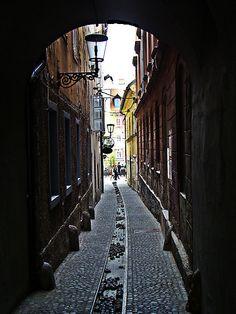 Stara Ljubljana (Old Ljubljana) Slovenia - To the left is the Skeleton Bar - worth the visit!