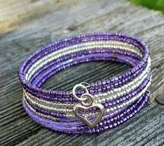 Purple and silver seed beads on memory wire