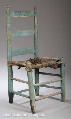 Acadian Cypress Ladderback Side Chair. Circa 1830's.