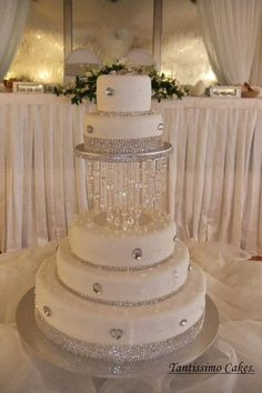 'Floating' Crystals Wedding Cake by Cake Appreciation Society Member Tantissimo Cakes - see NSW Directory Listing at www.cakeappreciationsociety.com