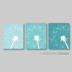 Close Up Dandelion Flower Print Trio - Home Bathroom Decor Nursery - Shown in Aqua, Teal, Turquoise - You Pick the Size & Colors Cuadros Diy, Small Canvas Paintings, Dandelion Flower, Paper Frames, Wall Decor, Wall Art, Sgraffito, Flower Prints, Girl Room