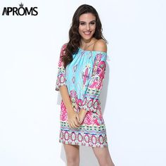 Women's Summer Off Shoulder Print Tunic Dress - Many Colors To Choose From! Only $18.99 shipped at freddyGraces.com!