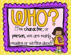 Asking Questions Posters {Common Core State Standards}  Who? What? When? Where? Why? How?     SUPER CUTE!!!! (For 1st grade-4th grade CCSS)