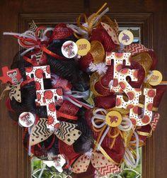 Deco Mesh Texas TECH/Texas STATE Wreath by decoglitz on Etsy