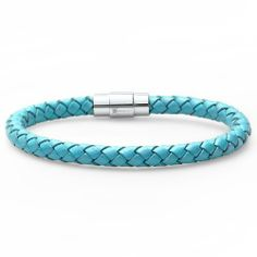 Oxford Ivy Teal Blue Braided Leather Bracelet - Stainless Steel Locking Magnetic Clasp (7 1/2 inch) Oxford Ivy. Save 76 Off!. $14.50. 7 1/2 Inches Long. Braided Leather. Stainless Steel Links