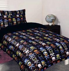 Glow-In-The-Dark Skull Bedding