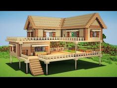 Minecraft: Large Wooden House Tutorial - How to Build a Survival House in Minecr. Memes Minecraft, Craft Minecraft, Minecraft World, Construction Minecraft, Modern Minecraft Houses, Minecraft House Plans, Minecraft Mansion, Minecraft Houses Survival, Minecraft House Tutorials