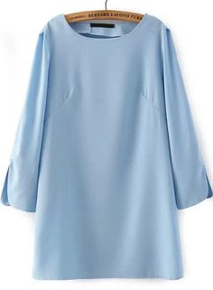 Blue Long Sleeve Split Loose Dress 11.84