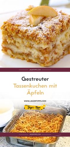 Scattered cup cake with apples- Gestreuter Tassenkuchen mit Äpfeln You probably know the delicious apple pie with pudding. This is a recipe for a simple but very tasty apple pie. Cinnamon Cream Cheese Frosting, Cinnamon Cream Cheeses, Healthy Foods To Eat, Healthy Desserts, Desserts Sains, Gateaux Cake, Easy Smoothie Recipes, Pumpkin Spice Cupcakes, Vegan Cheese
