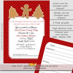 Printable Cookie exchange Party Invitation and Recipe card #Christmas #holidays