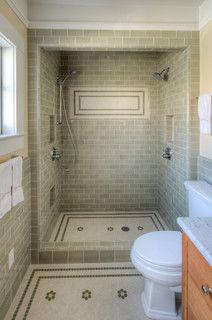 What a bathroom shower!Craftsman Remodel - craftsman - bathroom - san francisco - Kirk E. Accent Tile Bathroom, Bathroom Shelf Decor, Bathroom Floor Tiles, Downstairs Bathroom, Bathroom Styling, Small Bathroom, Bathroom Ideas, Shower Ideas, Master Bathroom