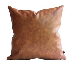 Thick Faux Leather Pillow Tan Pillow Cover Decorative For