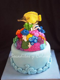 Coral reef and butterfly fish cake