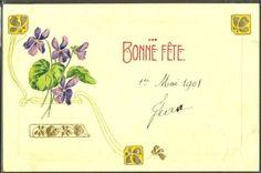 HM064-ART-NOUVEAU-VIOLETTES-DORURES-FANTAISIE-Gaufree-RELIEF