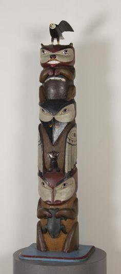 Northwest Coast Carved And Polychromed Totem Pole Depicting Eagle Beaver Raven Bear