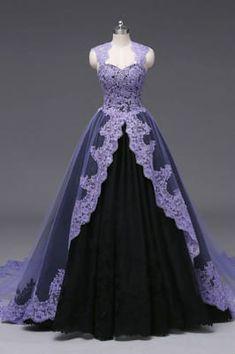 Halloween Wedding Dresses, Black Wedding Dresses, Gown Wedding, Purple Wedding Gown, Purple Black Wedding, Purple Gowns, Purple Dress, Purple Lace, Purple Ballgown