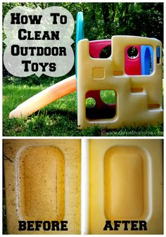 Two easy ways to spruce up those fun plastic toys. Great for cleaning up yard sale finds, too! {How To Clean Outdoor Toys}. Also outdoor plastic chairs. Deep Cleaning, Spring Cleaning, Cleaning Hacks, Diy Hacks, Daily Cleaning, Cleaning Quotes, Pool Cleaning, Diy Cleaning Products, Cleaning Solutions