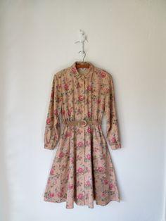 Floral Shirtwaist Dress ... Vintage 80s Linen Dress ... Belted Flower Print Frock ... Large. $42.00, via Etsy.